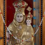Virgin Mary with the child Jesus, wooden polychrome, Cathedral of Fort Kochin - Kerala
