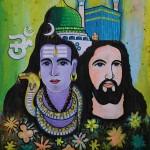 Śiva, Jesus, Islam, the 3 major religions, mural at Fort Kochin - Kerala