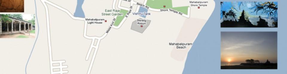 Map of Mahabalipuram or Mamallapuram, South India