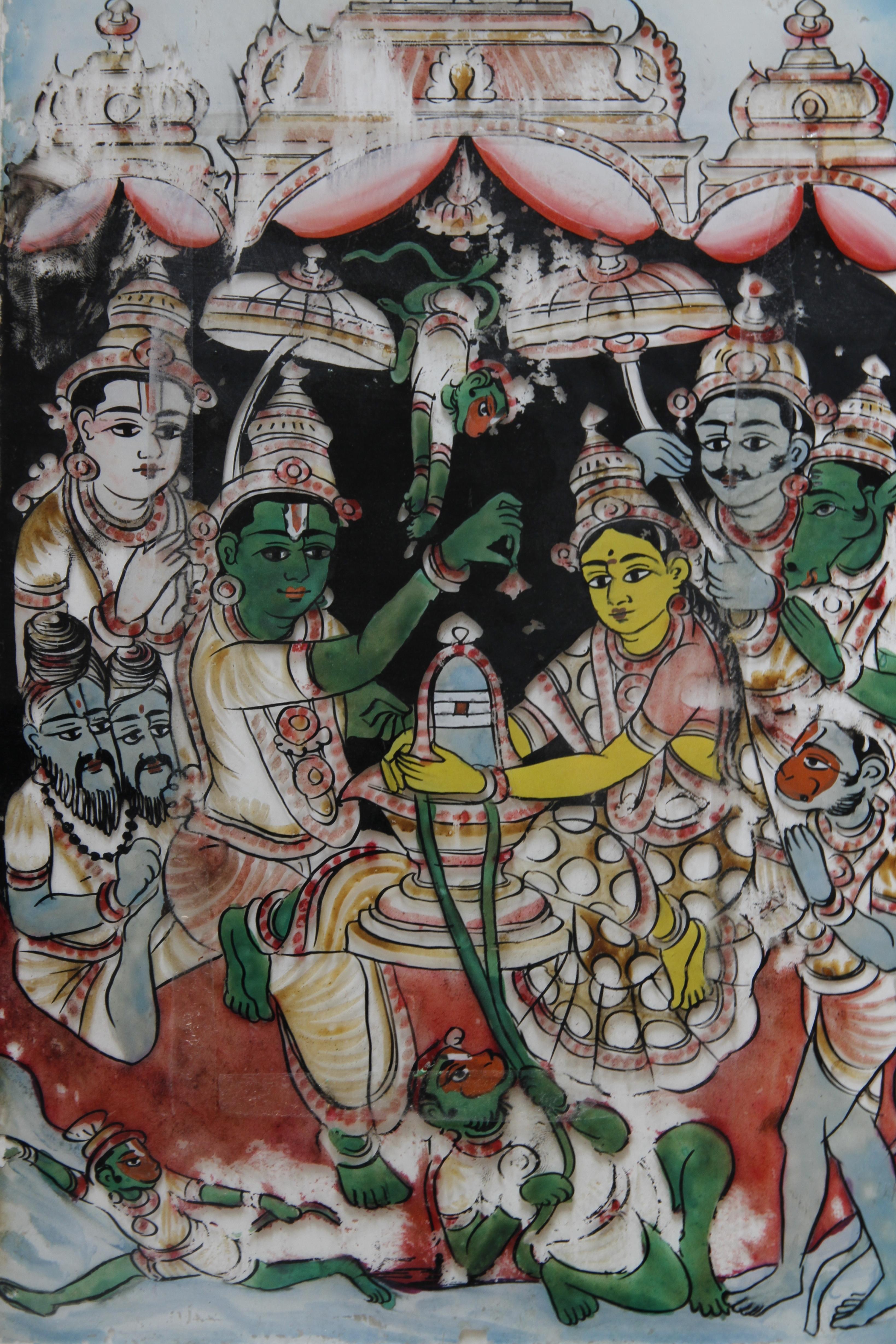Puja shiva lingam peinture sur verre ashtanga yoga institute for Peinture sur verre