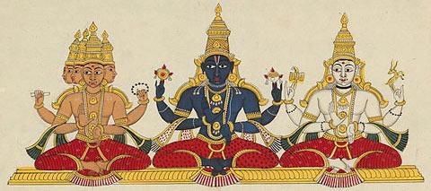 """The """"Hindu Trinity"""", Brahma, Vishnū, Ćiva."""