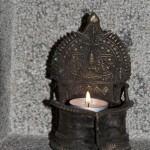 "Bronze ""Deepa Lakshmi"", lampe à huile, salle yoga"