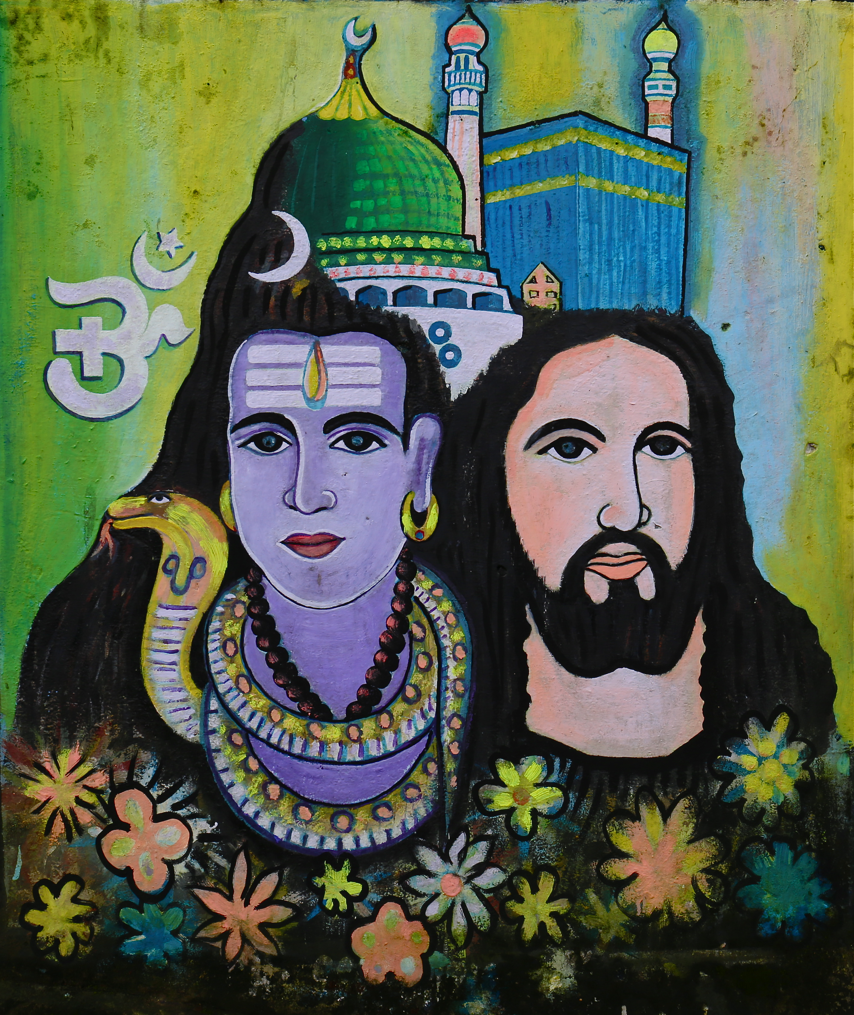 Śiva, Jésus, Islam, les 3 grandes religions, peinture murale à Fort Kochin - Kerala