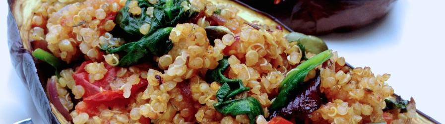Aubergine & quinoa, rôti au four